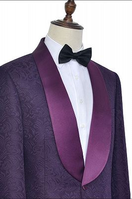 Luxury Dark Purple One Button Wedding Tuxedos   Silk Shawl Lapel Jacquard Prom Suits_4