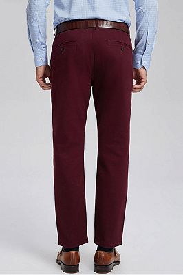 Classic Burgundy Cotton Straight Mens Daily Pants for Business_3