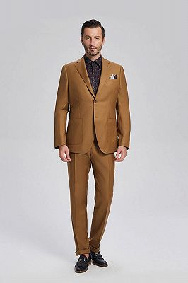 Silas Stylish Patch Pocket Gold Brown Mens Suits for Formal_1