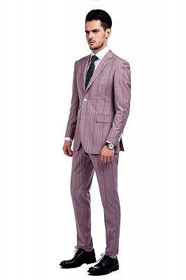 New Coming Plaid Pink Mens Suits with Flap Pocket_2