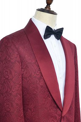 Luxury Burgundy Jacquard One Button Silk Shawl Lapel Mens Suits for Wedding and Prom_3
