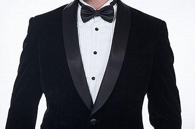 Premium Silk Shawl Lapel Black Velvet Mens Suits Tuxedos for Winter_4