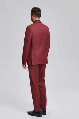 Popular Red Suits for Prom   Peak Lapel Mens Suits for Business_3
