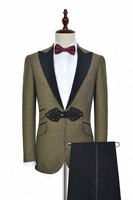 Retro Small Checked Prom Suits Cheap | Knitted Button Black Peak Lapel Wedding Suits for Men_2