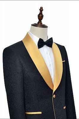 Gold Shawl Lapel One Button Wedding Tuxedo | Black Jacquard Cheap Prom Suits_3
