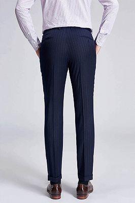 Light Grey Pinstripe Stylish Dark Navy Men's Suit Pants for Formal_3