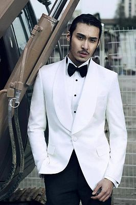 Stylish Shawl Lapel Wool Custom Mens Suits Cheap | Two Piece White Tuxedo Mens Suits for Wedding_2
