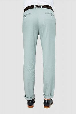 Light Mint Cotton Pants Summer Mens Daily Casual Trousers_3