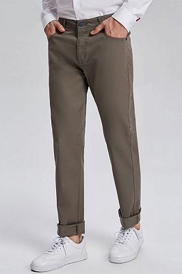 Fashionable Olive Green Cotton Roll-Up Cuff Mens Pants for Casual_2