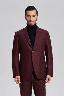 Unique Burgundy Solid Patch Pocket Chic Mens Suits Sale_1