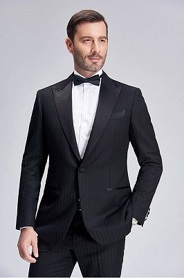Popular Silk Peak Lapel Black Mens Suits for Wedding | One Button Stripes Cheap Wedding Tuxedo_8
