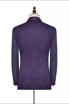 Luxury Dark Purple One Button Wedding Tuxedos   Silk Shawl Lapel Jacquard Prom Suits_2