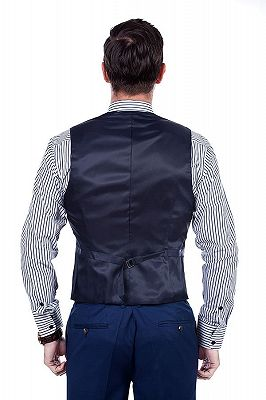 Premium Peak Lapel Navy Blue Three Piece Suits for Men with Double Breasted Vest_8