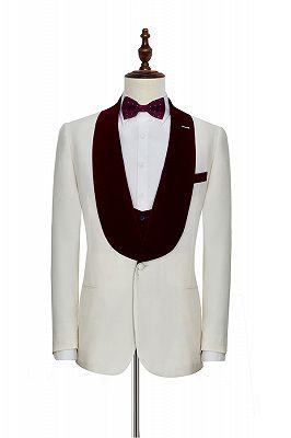 Velvet Shawl Collar White Wedding Tuxedos | Three Piece Wedding Suits with Burgundy Vest_2