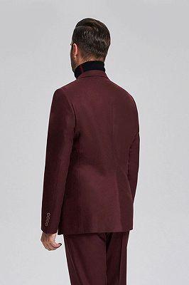 Unique Burgundy Solid Patch Pocket Chic Mens Suits Sale_3