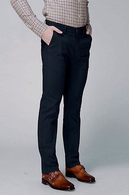 Dark Navy Cotton Pants Business Trousers for Men_2
