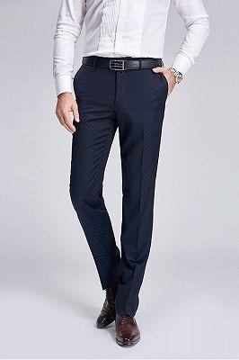 Stylish Blue Dots Dark Navy Suit Pants for Weddings_2