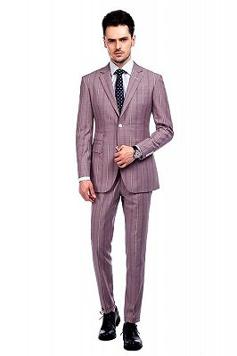 New Coming Plaid Pink Mens Suits with Flap Pocket_1