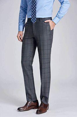 Big Plaid Fashionable Grey Mens Pants for Suit_2