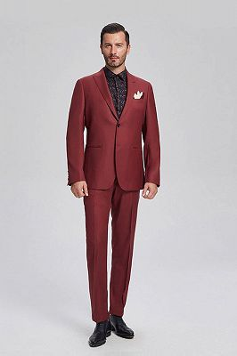Popular Red Suits for Prom   Peak Lapel Mens Suits for Business_1