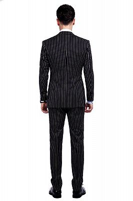 Tristen Modern Stripes Mens Leisure Suits   Black Suits for Prom_3