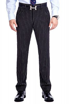 Tristen Modern Stripes Mens Leisure Suits   Black Suits for Prom_8
