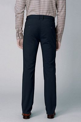Dark Navy Cotton Pants Business Trousers for Men_3