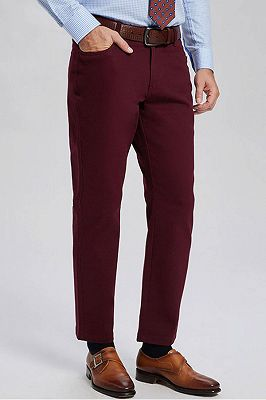 Classic Burgundy Cotton Straight Mens Daily Pants for Business_2