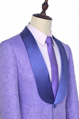 Lavender Jacquard Silk Shawl Lapel Bespoke Prom Suits_4