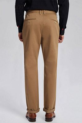 Daily Made-to-Order Khaki Cotton Business Pants for Men_3