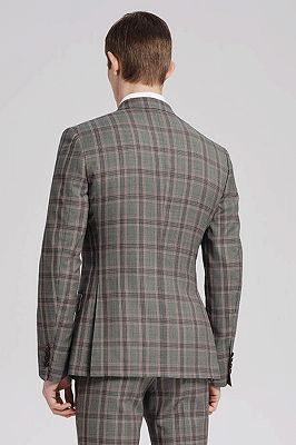 Custom Made Pink Checked Pattern Double Breasted Grey Mens Suits Sale for Business_3