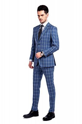 Light-colored Plaid Blue Fashionable Mens Suits for Formal_2