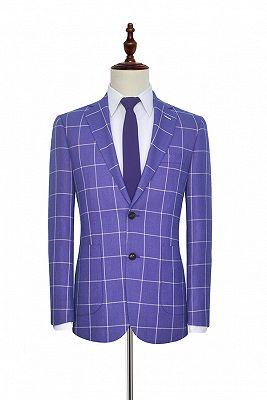 Check Pattern Patch Pocket Purple Mens Suits   Notch Lapel Formal Suits for Men_3