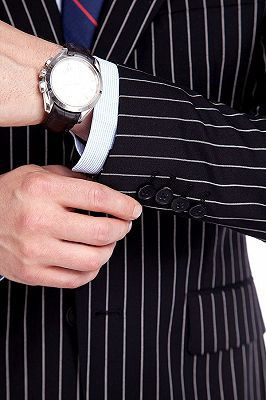 Tristen Modern Stripes Mens Leisure Suits   Black Suits for Prom_6