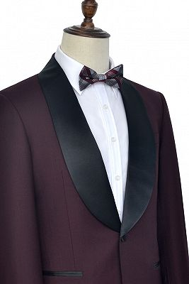 Luxury Black Shawl Collor One Button Wool Burgundy Wedding Suits for Men_3