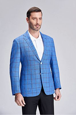 Brown Plaid Bright Blue Casual Blazer Jacket with Patch Pocket_2