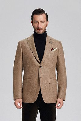 Classic Khaki Mens Daily Blazer Jacket for Suit_1