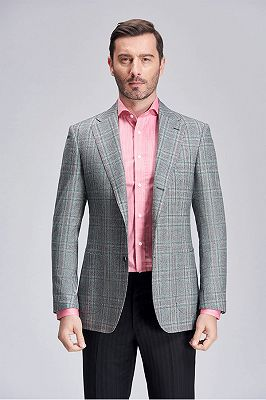 Casual Green Plaid Patch Pocket Grey Mens Business Suit Blazer Jacket_2