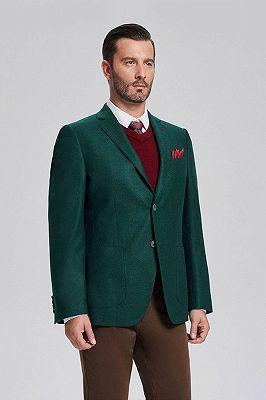 Classic Dark Green Patch Pocket Blazer Jacket for Men_2