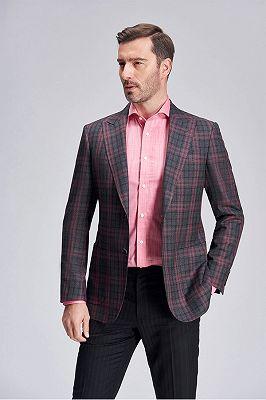 Peak Lapel Patch Pocket Red Plaid Grey Suit Blazer for Men_3