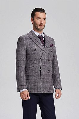 Elegant Grey Plaid Double Breasted Blazer Jacket for Men with Flap Pockets_2
