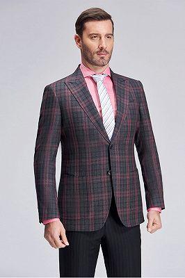 Peak Lapel Patch Pocket Red Plaid Grey Suit Blazer for Men_2