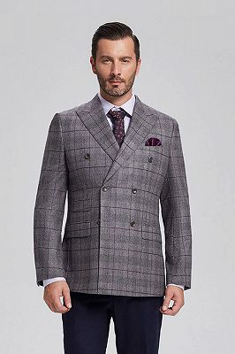 Elegant Grey Plaid Double Breasted Blazer Jacket for Men with Flap Pockets_1