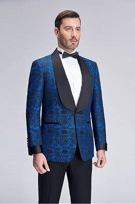 Black Shawl Lapel Blue Jacquard Wedding Suit Blazers for Men_2