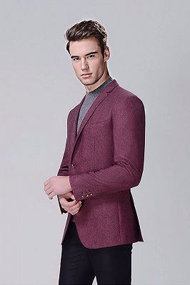 Fashionable Red Violet Business Thick Blazer Jacket for Casual_2