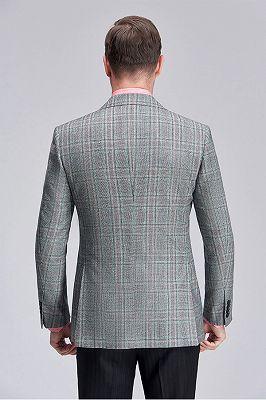 Casual Green Plaid Patch Pocket Grey Mens Business Suit Blazer Jacket_4
