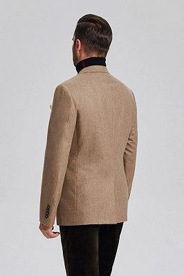Classic Khaki Mens Daily Blazer Jacket for Suit_3