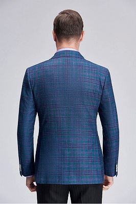 Formal Peak Lapel Plaid Double Breasted Blue Mens Blazer Jacket for Business_4