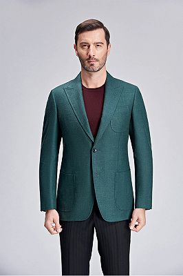 Stylich Green Patch Pocket Peak Lapel Daily Casual Slim Fit Blazer Jacket for Men_1
