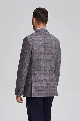 Elegant Grey Plaid Double Breasted Blazer Jacket for Men with Flap Pockets_3